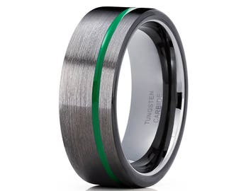 Green Tungsten Wedding Ring Gunmetal Tungsten Ring Anniversary Band Men & Women Tungsten Carbide Ring Gray Tungsten Band
