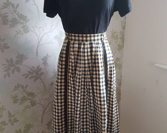Vintage 1970s Gingham Full Skirt