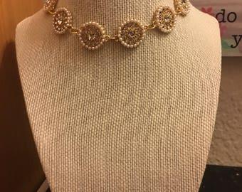 Gold Pearl adjustable chocker necklace