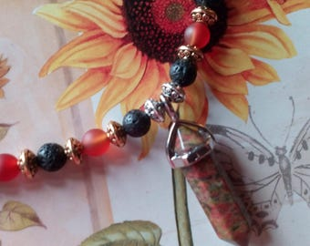 Unikite Jasper Pendant necklace with lava stone and red carnelian beads on elastic rope
