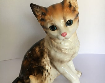 """Vintage 1960s Lefton China Brown Tabby Cat Blue Eyes 7"""" Tall Number H1426"""