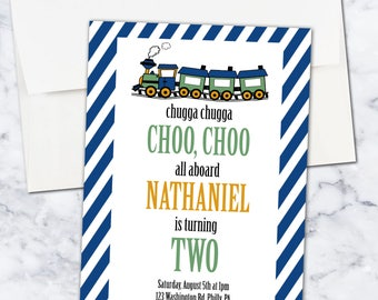 Train Second Birthday Invitation, Boy, 5x7, Digital Download