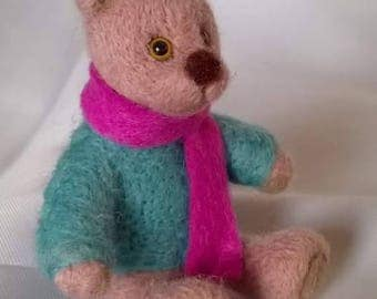 Needle felted bear with scarf