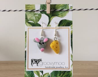 mouse & cheese polymer clay earrings