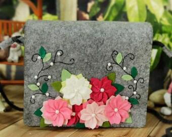 DIY Kit Cherry Blossoms Felt Crossbody Bag / Handbag