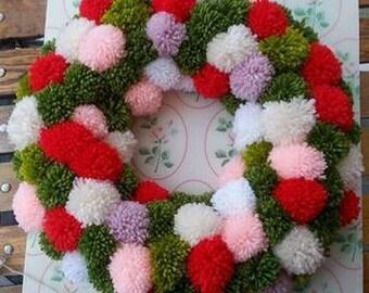 Handmade Yarn Pom Pom Wreath
