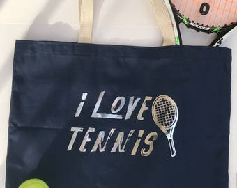i love tennis, Navy Blue and Silver Large Canvas Tote Bag