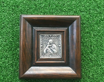 Small Icon Mother of Jesus - Made with Copper and Silvered and set into a Wooden Frame - Mary - Recycled Metals - Theotokos - God-bearer