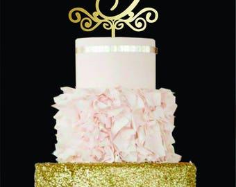 Wedding Cake Topper G Letter G cake topper Gold Monogram Cake Topper Initial cake topper Wood Cake Topper A E C B Custom Wedding Cake Decor