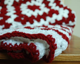 Peppermint crochet blanket, granny square, dark red and white crochet throw, candy cane afghan, christmas throw