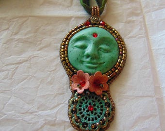 New Moon in Green Necklace