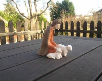 Shepherd and sheep for Nativity scene