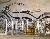 Set of 4 Biker Beer Can Glasses, Gifts for Men, Gift for Biker, Best Gifts for Men, Biker Gift, Motorcycle Gift