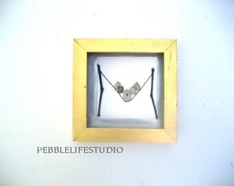 thick birdie, Pebble art, Pebble picture , unique engagement gift,  Pebble birdies