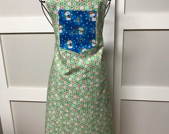 Snowman and starburst reversible apron