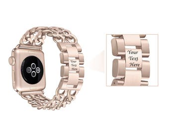 Champagne Gold Engraved Apple Watch Band Jewelry Double Row Chain Link 38mm 42mm Bracelet Band Adjustable Girlfriend Gift Best Friend 2018