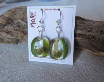 Earrings fused glass olive green and MOSS green with iridescent reflections: