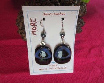 Purple and blue glass earrings with iridescent foil inclusion