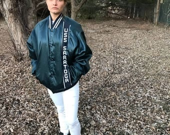 Vintage USS Saratoga Jacket | Late 80's Early 90's | Unisex XL | Rare Find | Durable warm Jacket | Great Comfortable Fit |