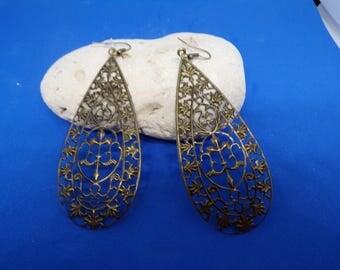 Prints form bronze drop earrings