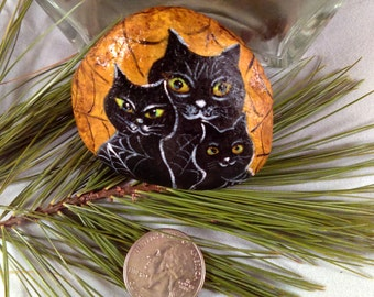 original  hand Painted rock stone art  black cats