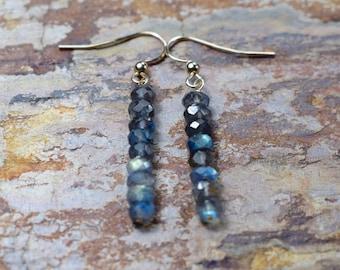 Labradorite Dangle Earrings, 14k Gold Fill Earrings, Gemstone Earrings, Blue Flash Labradorite Jewelry, Girlfriend Gift