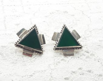 Green Onyx Sterling Silver Post Earrings/Vintage/Handmade/925/Free Shipping US/Christmas/ Birthday/Valentine/Anniversary gift