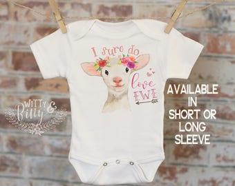 I Sure Do Love Ewe Lamb Onesie®, Funny Onesie, Cute Onesie, Animal Onesie, Cute Baby Bodysuit, Boho Baby Onesie, Girl Onesie - 300I