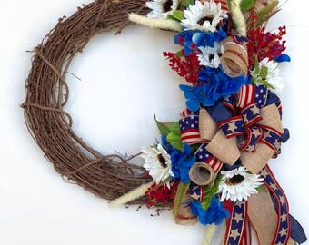 4th of July Wreath, Patriotic Wreath, 4th of July Grapevine Wreath, Red White and Blue Wreath for Door, Patriotic Door Hanger
