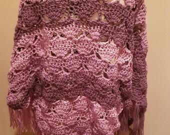 Crochet Purple/Pink Swirl Fan Shawl