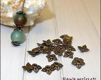 "30 small cups Ice Caps ""Flower"" 6 mm Metal Bronze"