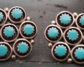 Native American jewelry Zuni Cluster Turquoise and Sterling Silver Earrings