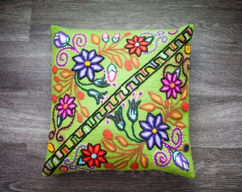 Hand embroidered floral pillow cover, 100% sheep wool.
