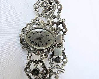 Vintage Beautiful Silver Tusal Watch, 17 Jewels, Incabloc, Marked with 835 Silver Mark