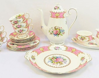 "Vintage Royal Albert, Bone China England, ""Lady Carlyle'' Porcelain set from 1944"