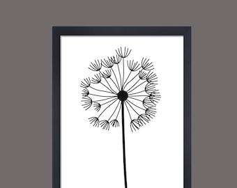 Dandelion Print Black And White Wall Art Print Monochrome Print Scandi  Print Nordic Dandelion Wall Art Part 88
