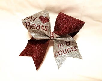 Beautiful Mystique and glitter cheer bow with Rhinesones- Customizable