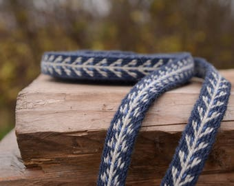 Tablet woven belt / Blue and white / Viking patterns / Unique band / Medieval clothing / 20 mm woven strap / Unisex belt / Card weaving