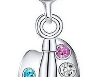 Genuine Sterling Silver Hanging Charm - Paint Brush and Palette - CZ Bead Charm - Fits European and Pandora Charm Bracelet