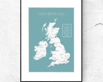 Great British Gin Map - Poster - A3 size - Limited Edition of 100 Prints