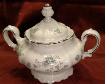 Haviland Blue Garland China Sugar Bowl & Lid