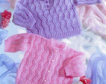 Sweater and Cardigan, Knitted pattern, Newborn to 1 Year Old, Instant download.