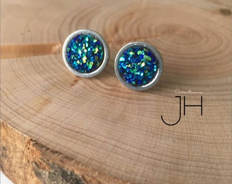 Stud Earrings in stainless steel and faux Druzy resin color Royal Blue and Aqua / earrings studs / earing / Stainless steel