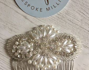 Silver Bridal Hair Comb with Pearls, crystal and beads/Bride Comb/Bride Pearl Comb/Crystal & pearl Bride Comb/Bridal Accessories/