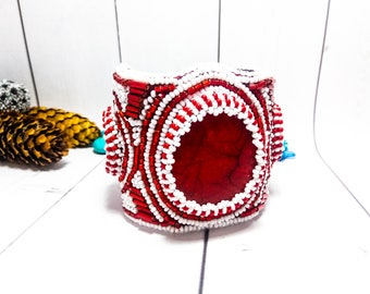 Red Holiday bracelet Clothing Red gift Luxury Beadwork Bead cuff Beadwork jewelry Beadwork Beaded cuff Designers bracelets Red bangle bead