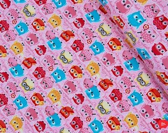 KNIT Fabric by the Yard Owl Fabric Baby Knit Fabric Jersey Knit Fabric Cotton Spandex Cotton Knit Material Stretch Fabric Headband Fabric