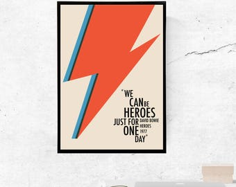 Heroes, David Bowie - A3/A4 Print