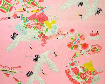 Vintage Japanese Silk Fabric – Girls Kimono Fabric, Made in Japan – Japanese Fans Good Fortune Symbols – Colorful Silk Fabric – Unused Bolt
