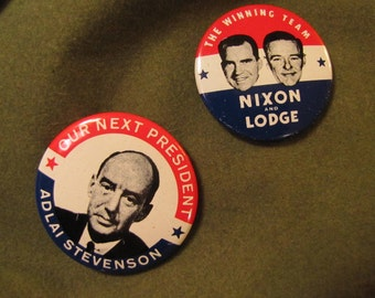 Set of 2 Vintage Political Campaign Buttons made by Kleenex Tissue in 1968 Nixon Lodge and Adlai Stevenson