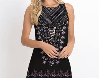 Bohemian Print Dress, Sleeveless Dress, Romantic dress, Mini Dress, Casual Dress, Summer Dress, White and Black Available